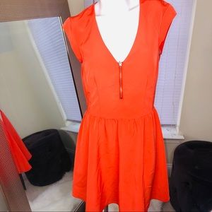 Orange Fit and Flare front zip dress